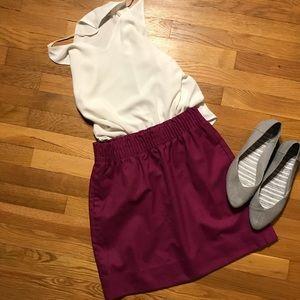 J Crew paper bag waist magenta wool pockets skirt
